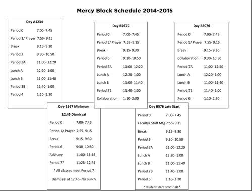 Mercy High School Burlingame: Mercy Block Schedule