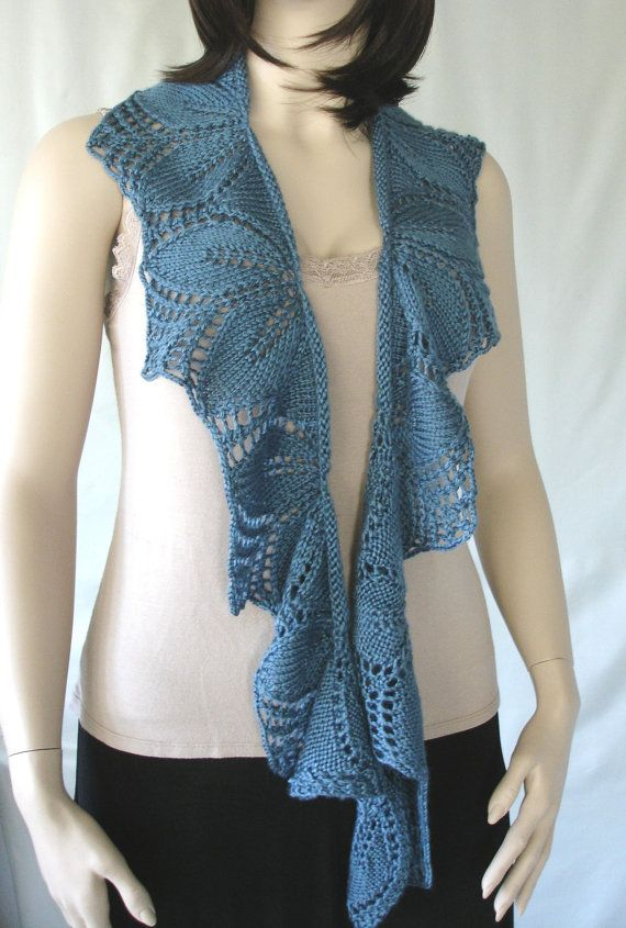 Lace Scarf Hand Knitted Lace Scarf Lacy Leaves by SuzanneSullivan