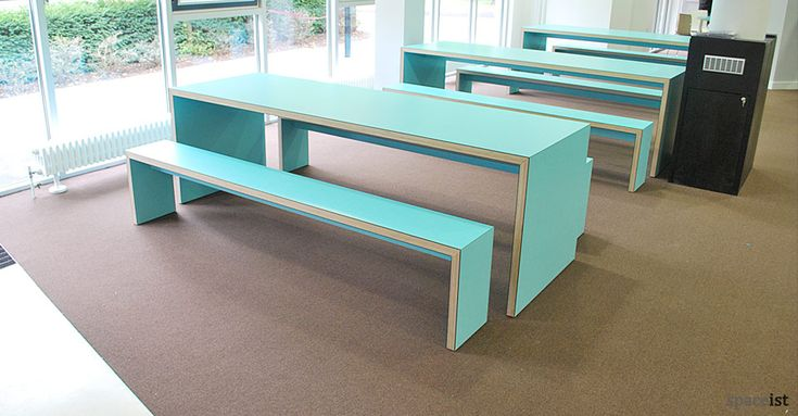 Electric blue canteen table and benches