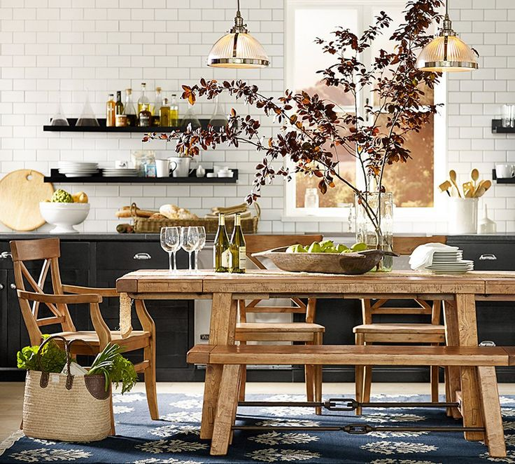 dining table replaces the island - for dining and extra prep space - pottery barn blog