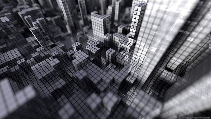 Gray 3D City for 1600x900