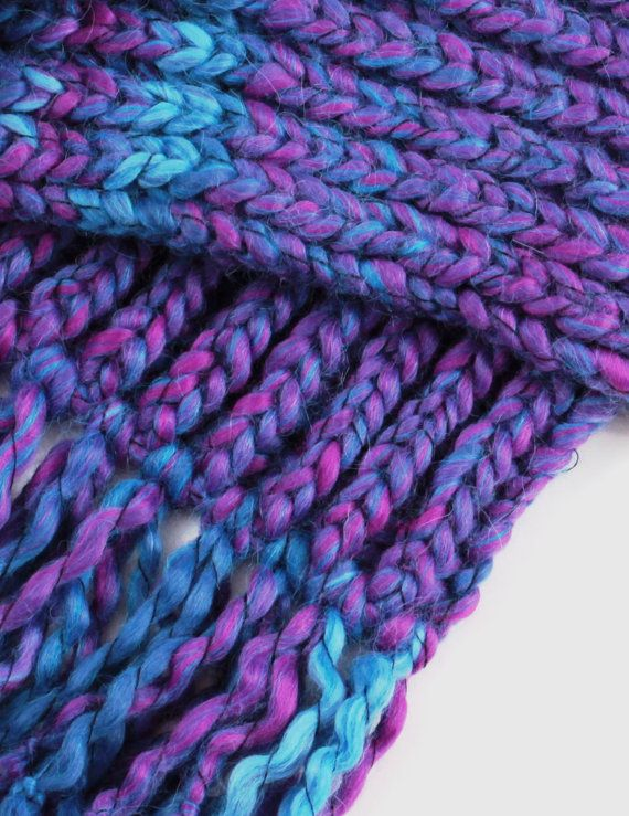 Purple knitted scarf-Hand Knitted Scarf-spring fall winter scarf-Melange knitted scarf-Alpaca clothing-28cmx170cm with fringe