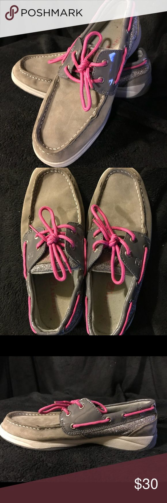 Grey Glitter and pink Sperrys Girls size 4 grey glitter and pink Sperrys. Slightly worn. Sperry Shoes Flats & Loafers
