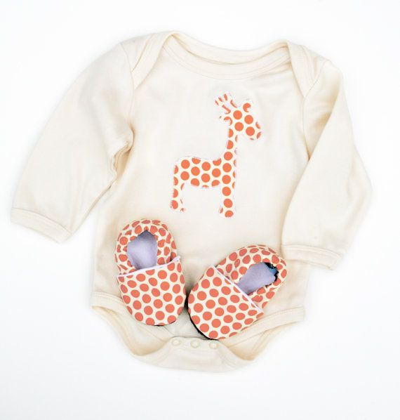 Giraffe Organic Bodysuit Short or Long Sleeve in Orange Spots with Handmade Organic Baby Shoes- Gift for  0 3  6 12 18 months- Baby Clothes on Etsy, $48.00
