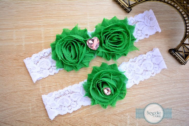 Wedding Garter Handmade of White Lace & Crystal Pink Rhinestone - by BespokeGarters by BespokeGarters on Etsy