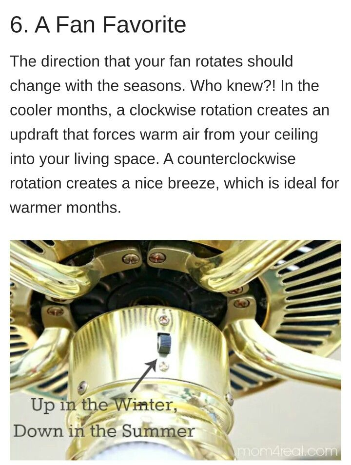 Ceiling Fan Direction Clockwise Switch Up In The Winter Counterclockwise Switch Down In Th Ceiling Fan Direction Ceiling Fan Switch Cleaning Ceiling Fans