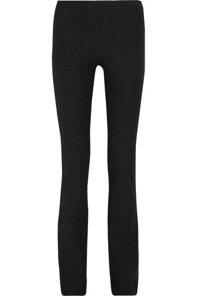 SUBTLE FLARE: Joseph's 'Lex' pants are an effortless way to tap this season's '70s mood - the skinny cut relaxes from the knees to create a subtle flared silhouette. They have been tailored in France from black stretch-gabardine and have a comfortable elasticated waist. We think they work equally well with a sharp blazer or deconstructed knit.
