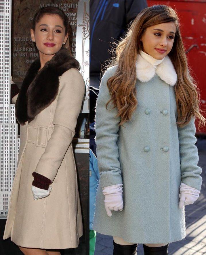 Ariana Grande Wearing A Beige Kate Spade Briella Wool