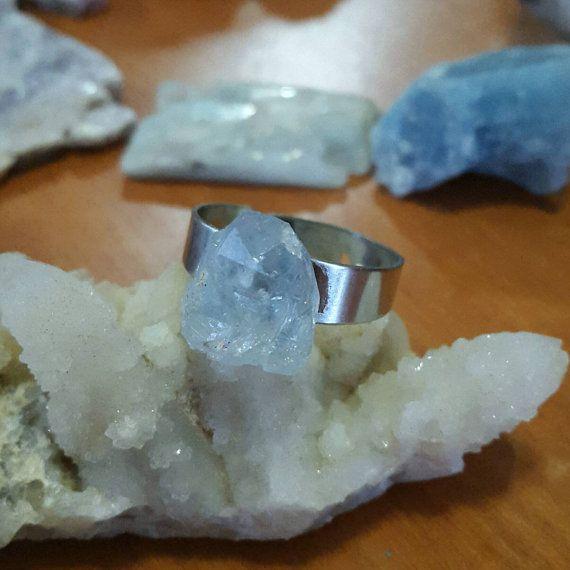 Real Celestite Cluster Silver Adjustable Ring by ArtByWolves