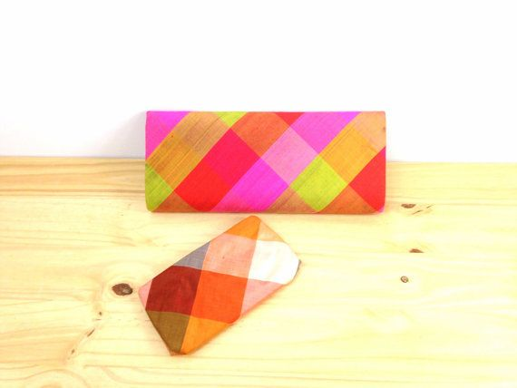 Vintage Silk Neon Clutch / Extra Large Clutch / by VintageEdition