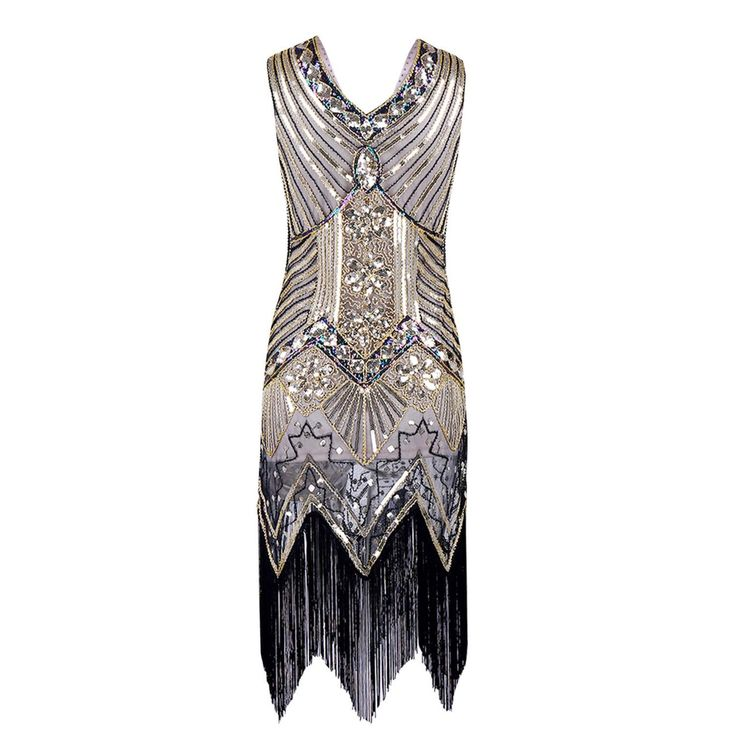 Sleeveless V Neck Sequin Short Tassels Evening Dress
