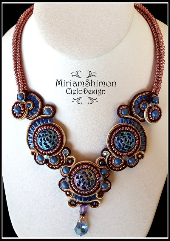 Vintage+Soutache+necklace+in+Blue+Copper+and+by+MiriamShimon