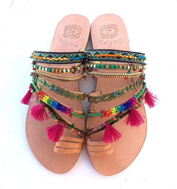 Aladin / kleurrijke sandalen Griekse sandalen slip op