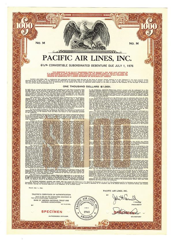 Pacific Air Lines, Inc., 1961 Specimen Bond - Archives International Auctions
