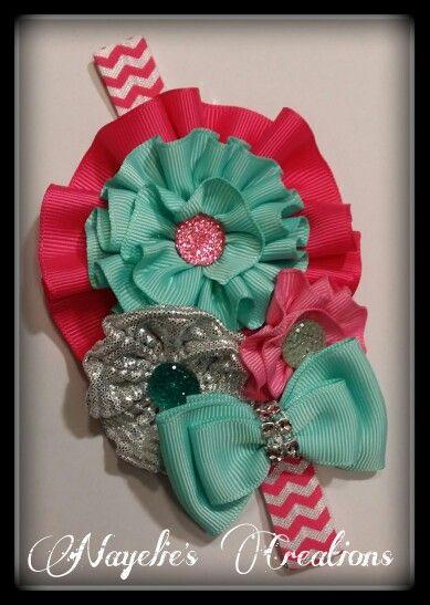 Pink, aqua & silver headband