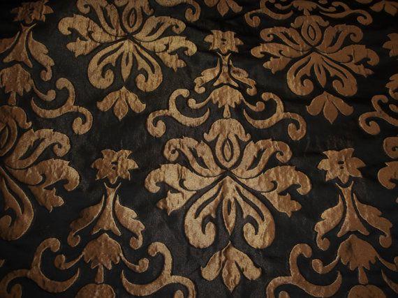 Gold Metallic Woven Damask Black Background Upholstery Drapery