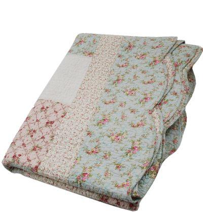 www.gardsromantik.se - Överkast quilt enkelsäng rosor turkos rosa shabby chic lantlig stil