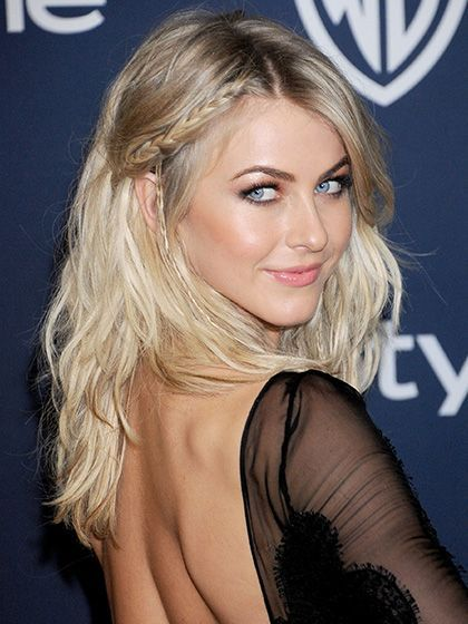 Julianne Hough's boho braid and loose waves hairstyle with glowing skin, pink lipstick and a subtle smoky eye | allure.com