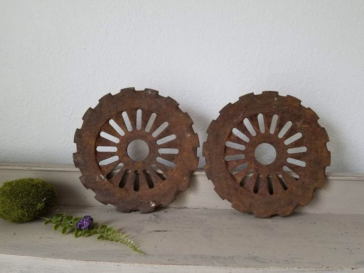 Set of 2 Vintage Farm Wheel Sculptures Industrial Decor Rusty Metal Sculpture supply by VintageABCs on Etsy https://www.etsy.com/listing/523314923/set-of-2-vintage-farm-wheel-sculptures