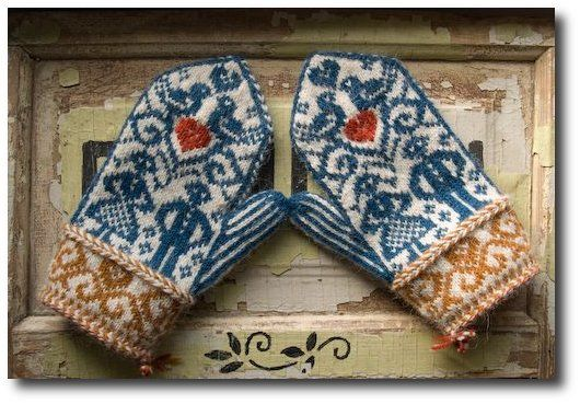 Norwegian wedding mittens by bluegarter.org