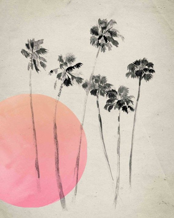 California Palm Trees Print, Pink #landgwishlist