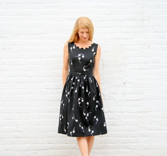 Vintage 50's Little Black Day Dress S  Tulip by RubyChicBoutique, $68.00