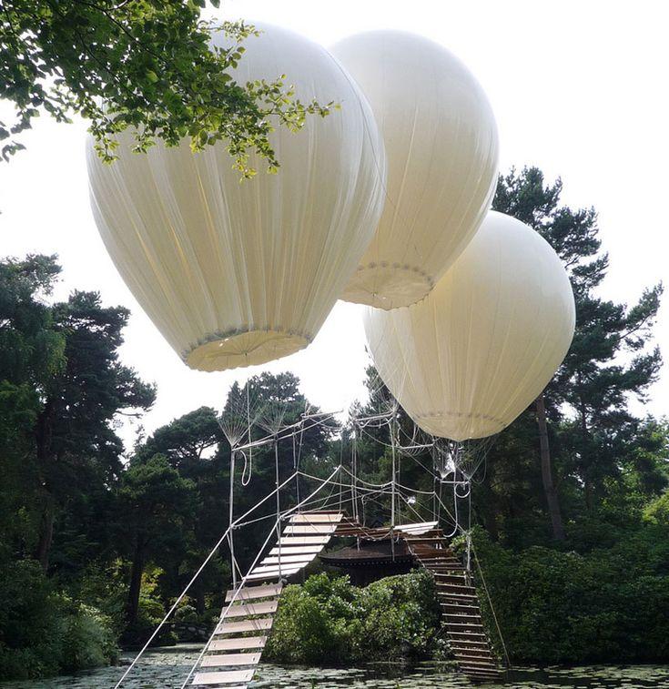 helium balloon suspended bridge by olivier grossetête ( aloft a lake in tatton's japanese garden in the UK)    designboom
