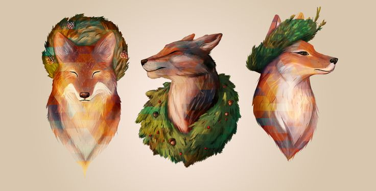 fox / coyotes with fir crowns illustration
