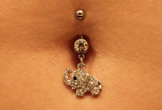 Dawwww so cute  listing at https://www.etsy.com/listing/188335422/elephant-belly-button-ring-dangle-belly