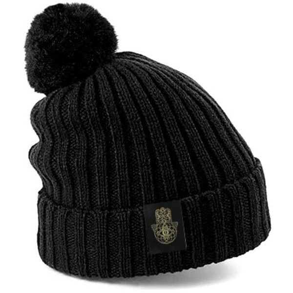 iamVibes Black Bobble Hat With Gold Hamsa ($45) ❤ liked on Polyvore featuring accessories, hats, beanies, black, black beanie, bobble beanie hat, gold beanie, beanie hats and gold beanie hat