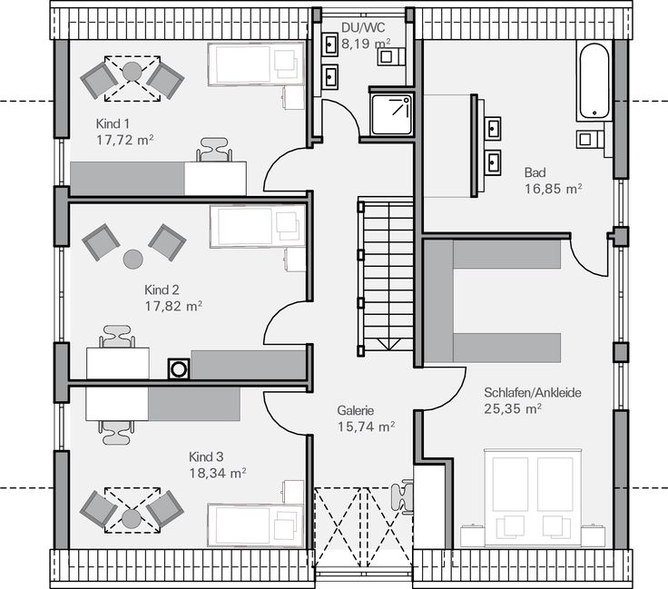 Einfamilienhaus grundriss 3 kinderzimmer  Die besten 25+ Grundrisse Ideen nur auf Pinterest | Haus ...