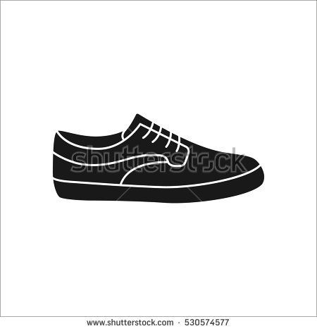 Skateboard shoe or sneaker symbol sign silhouette icon on background