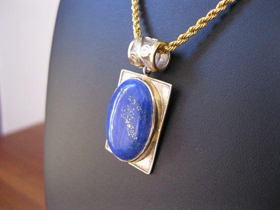 Magnificent Lapis Lazuli Designer Sterling Silver Pendant