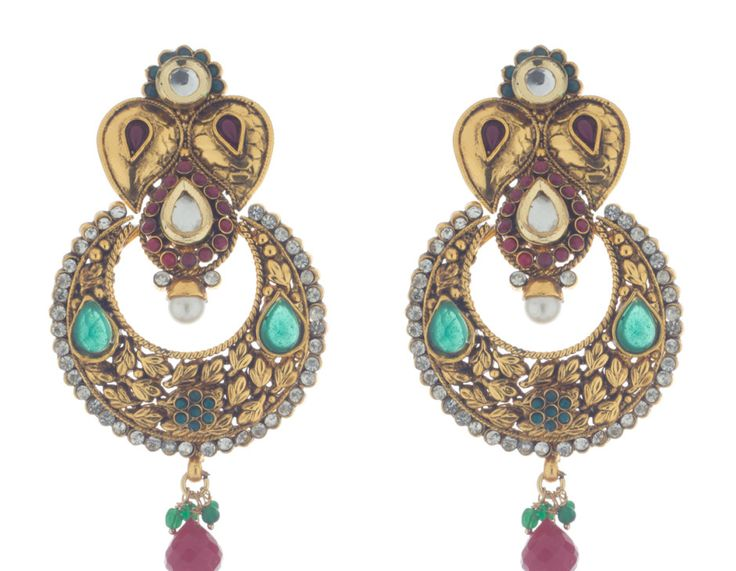 Exquisitely crafted multi-coloured Polki earrings in chandbali design by Bejeweled.