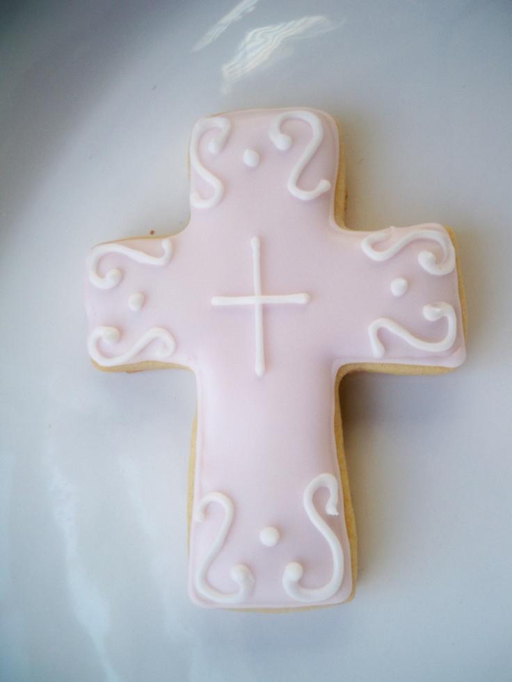 light pink cross cookies