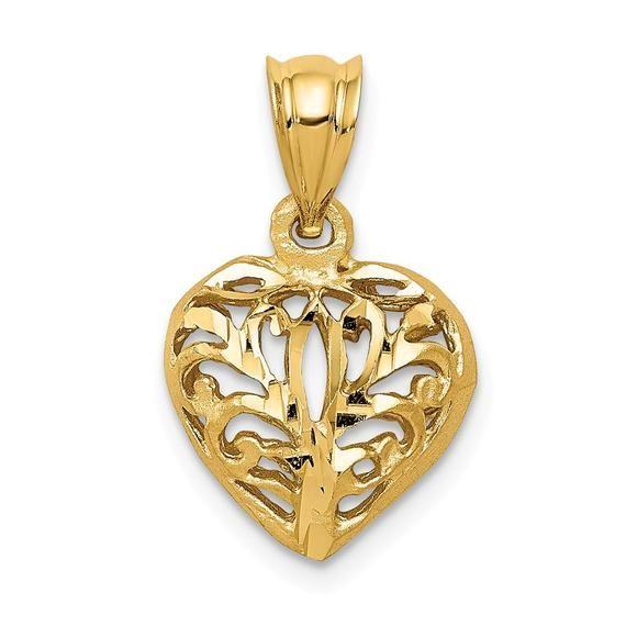 14K Yellow Gold Puffed Diamond Cut Heart Charm Pendant