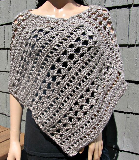 Tan Crocheted Poncho by TwistandStitched on Etsy, $55.00