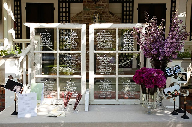 antique window + permanent markers + wedding guests = wedding guest book decor.... super cute idea but i dont known if ill have a set chart.