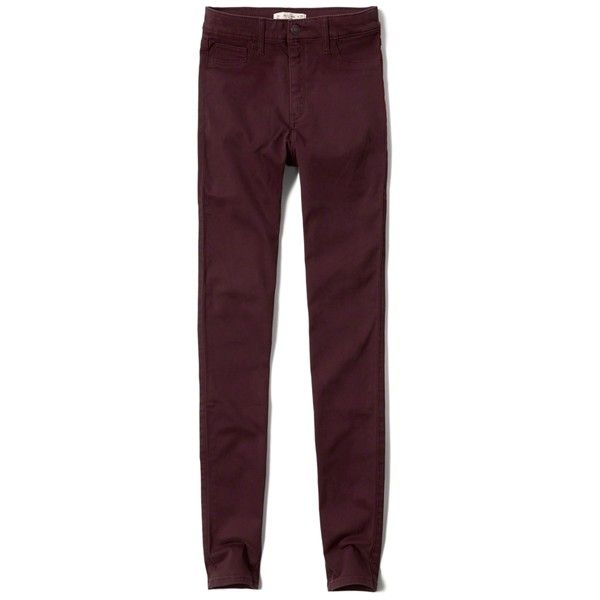 Abercrombie & Fitch High Rise Super Skinny Jeans (115 BRL) ❤ liked on Polyvore featuring jeans, pants, bottoms, burgundy, super skinny jeans, high waisted jeans, super high rise skinny jeans, skinny jeans and burgundy high waisted jeans