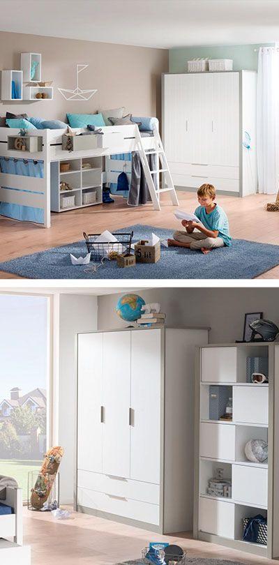 KLEIDERSCHRANK in Grau, Weiß Schlafzimmer Pinterest - schlafzimmer mit eckschrank