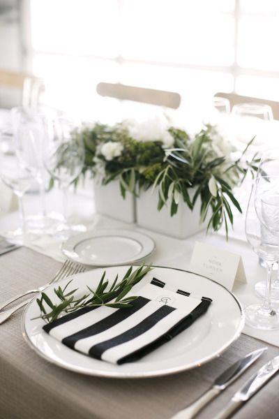 Striped napkins: http://www.stylemepretty.com/2014/06/26/modern-elegance-at-durham-ranch-in-napa/ | Photography: Belathee Photography - http://belathee.com/