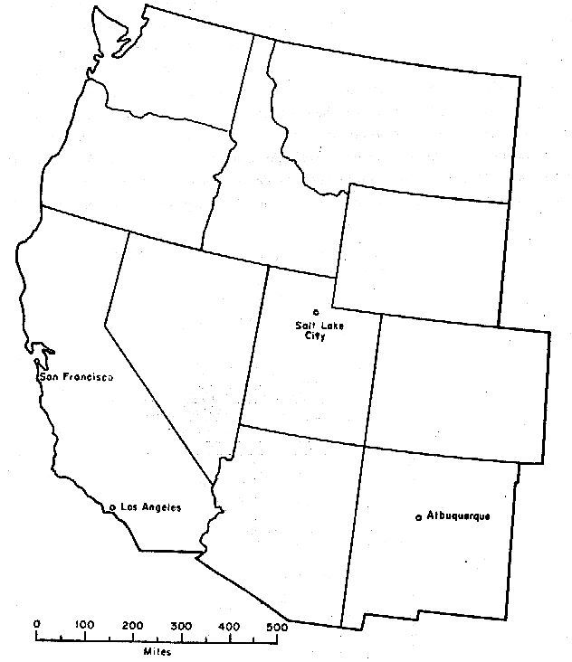 Western US States MapQuiz Printout EnchantedLearningcom Map Of