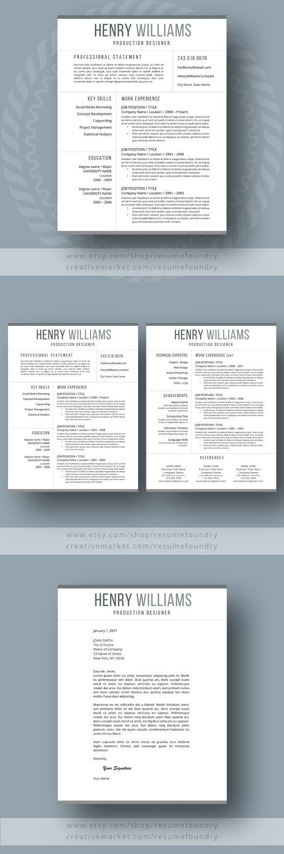 resume template for word 3 page