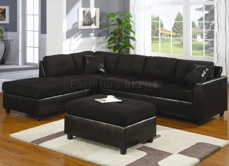 black sectional sofas | Microfiber u0026 Faux Leather Contemporary Sectional Sofa 500735 Black : nice sectional sofas - Sectionals, Sofas & Couches