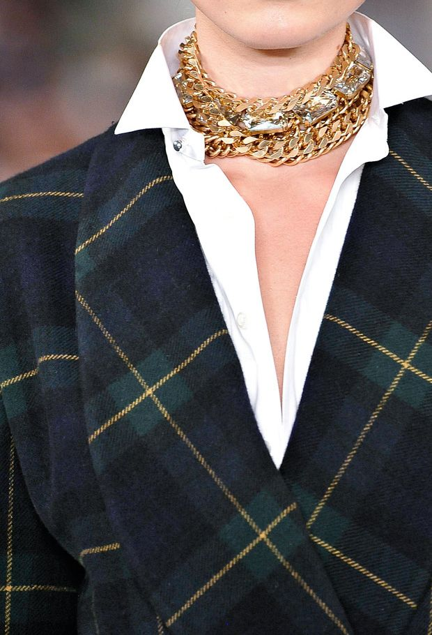 Sophistication abounds with this Ralph Lauren Tartan Coat and gold jewelry combo
