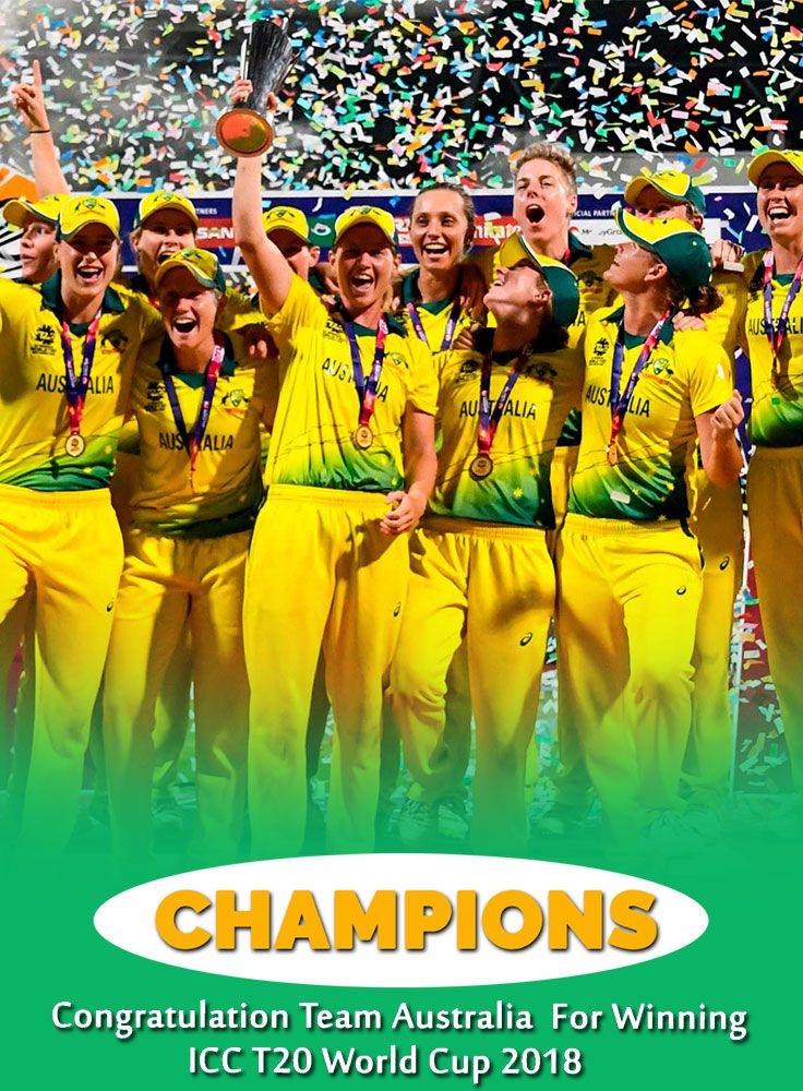 Congratulation To The World T20 Champions Australia Womencricketteam T20worldcup Winners Ausvseng Wt20 Watchme Ausve Cricket Teams Champion Poster