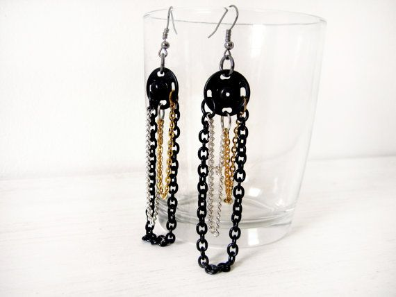 Earrings black gold silver chains and press studs by BlackRedDots, $14.00