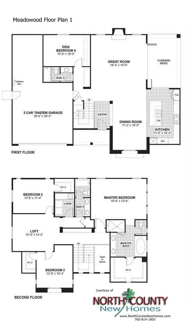 Meadowood New Homes Floor Plans   North County New Homes