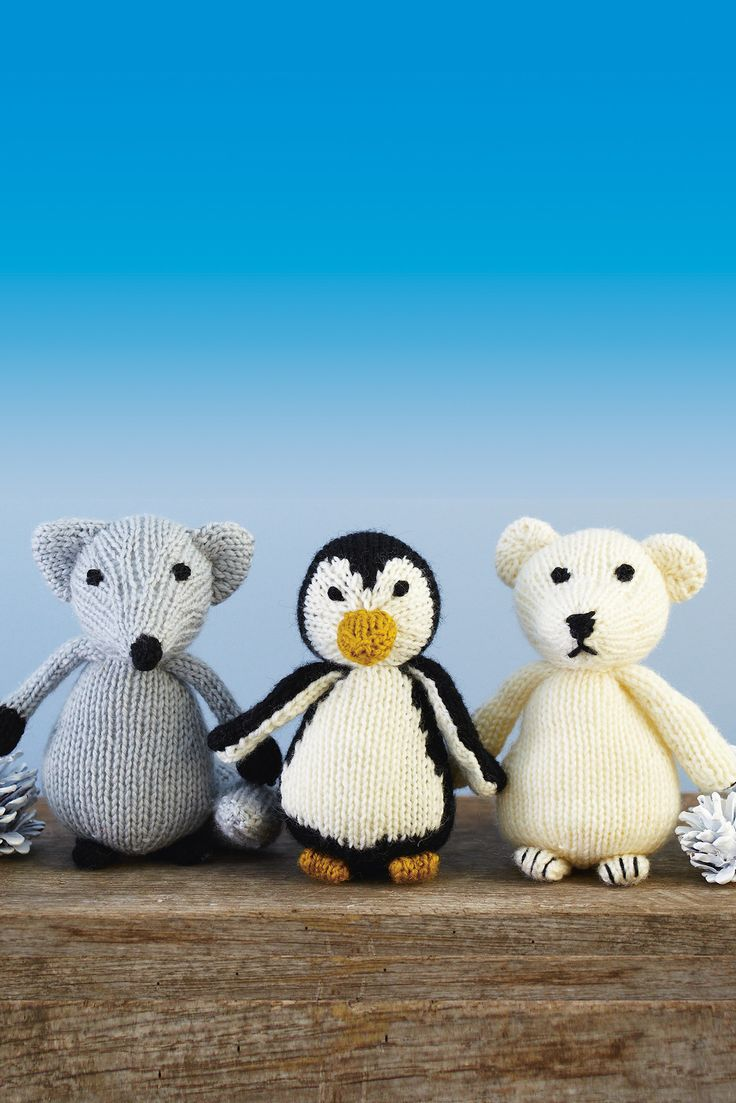 Artic animals toy trio of knitted fox penguin and polar bear in artic animals toy trio of knitted fox penguin and polar bear in silver grey fox shop this knitting pattern now at the knitting network pinterest bankloansurffo Images