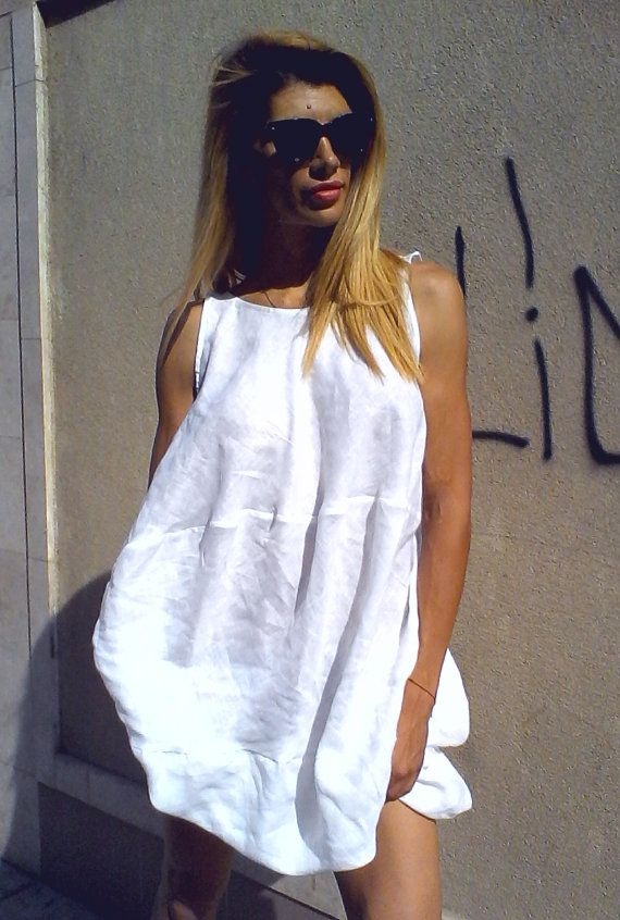White Sexy Summer Tunic / Linen Dress by OrendaPremierFashion